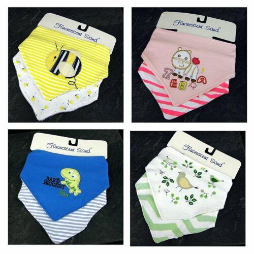Baby Dribble Bib Scarf Catcher Colours Bandanna 100/% Cotton 2 Pack