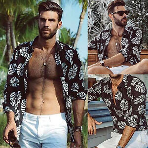 Men-Floral-Hawaiian-Summer-Holiday-Beach-Top-Long-Sleeve-Shirt-Casual-Blouse-Tee