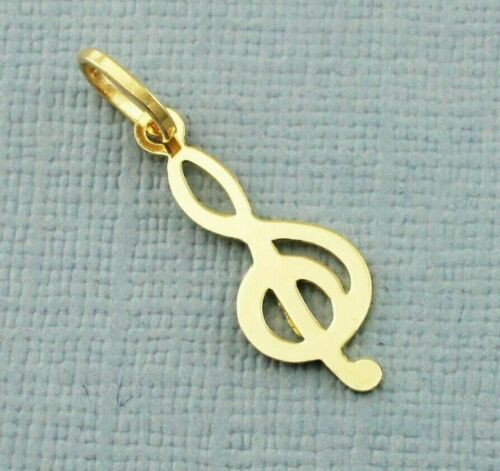Treble clef De Oro Amarillo 9ct Encanto Colgante//
