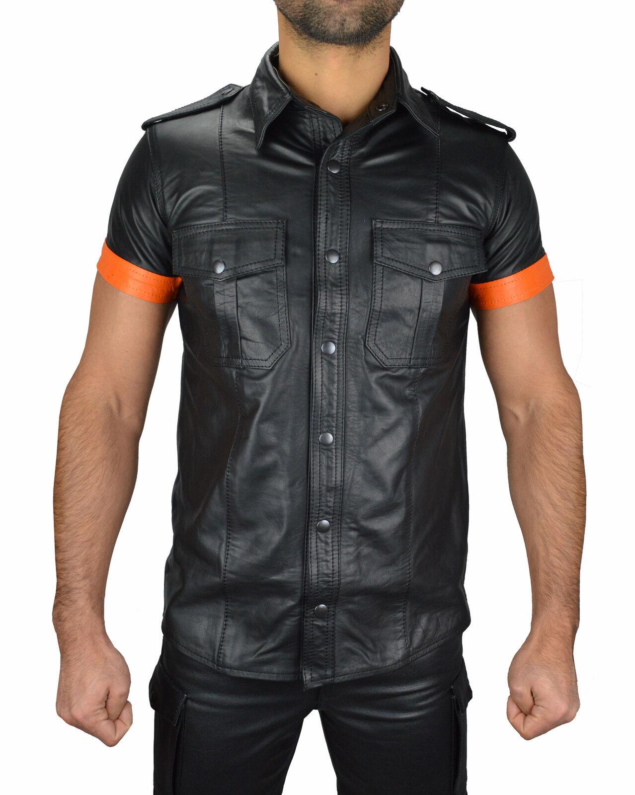Awanstar Camicia in pelle pelle liscia con paragrafi, Leather Shirt, Camicia In Pelle, Gilet in Pelle