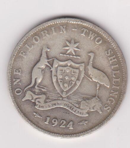 very Nice 1924 Australian Silver TWO Shilling Florin 2// TWO BOB KING GEORGE V