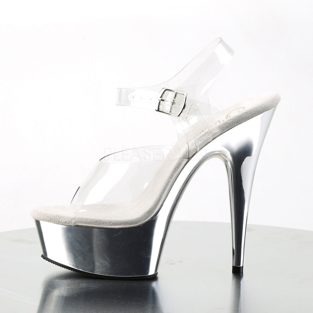 PLEASER Sexy Exotic Stripper argent Platform Ankle Strap 6    High Heels chaussures f33902