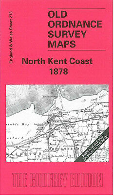 OLD ORDNANCE SURVEY MAP NORTH KENT COAST 1878 FAVERSHAM HERNE BAY WHITSTABLE