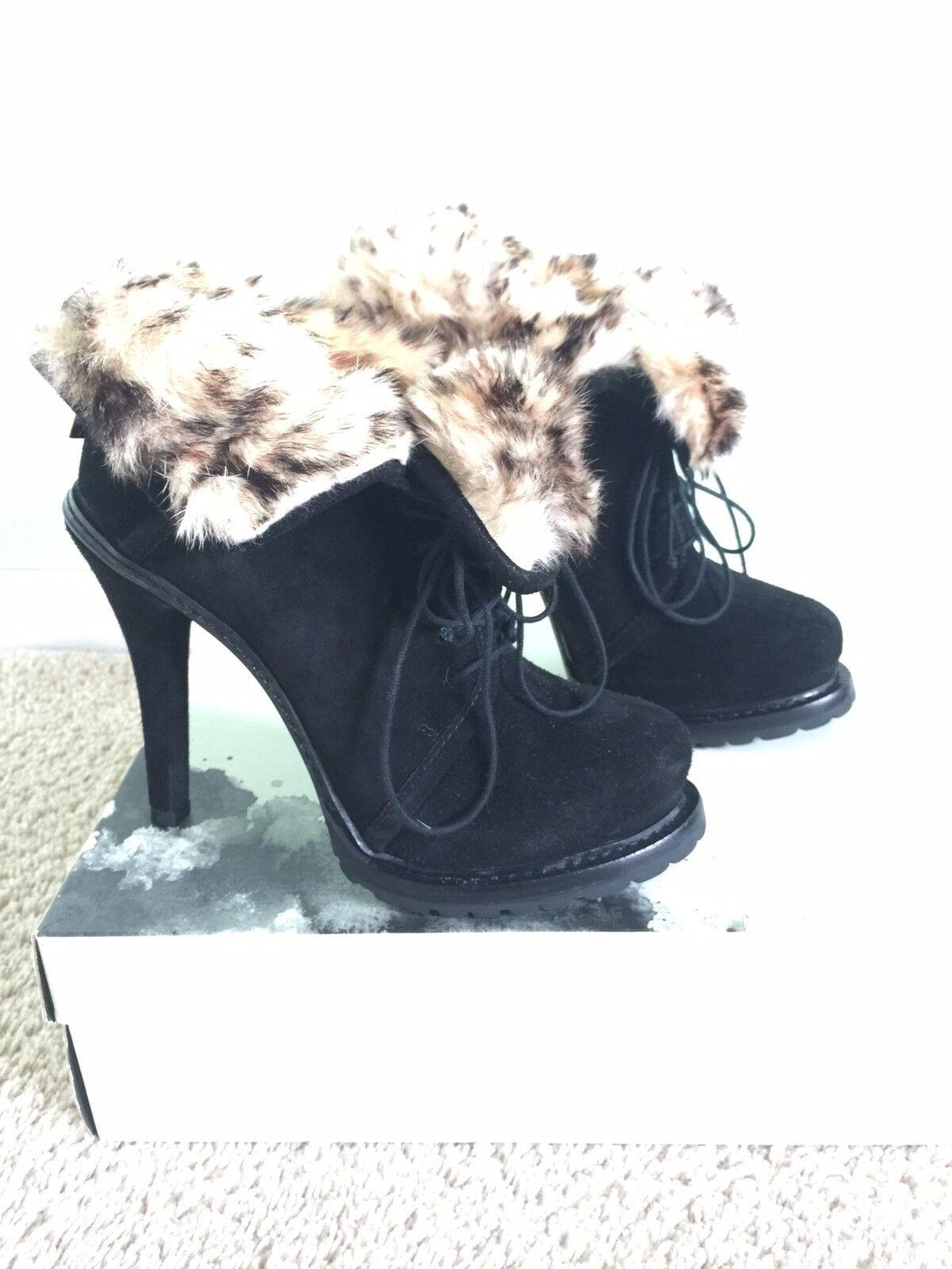 359 Elizabeth And James Fur Lined Black Suede Ankle Boots m/ laces Size 7