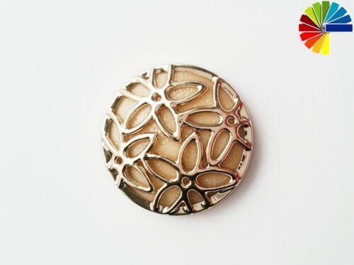 1 Knopf Relief Blumen Ösenknöpfe 25mm