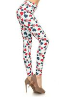 Women's One Size Love Heart Usa Print Leggings Full Long S-xl Stretch S106