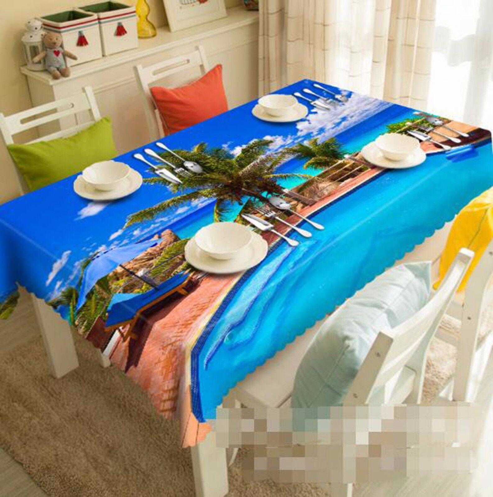 3D Pond Bule Tablecloth Table Cover Cloth Birthday Party AJ WALLPAPER UK Lemon