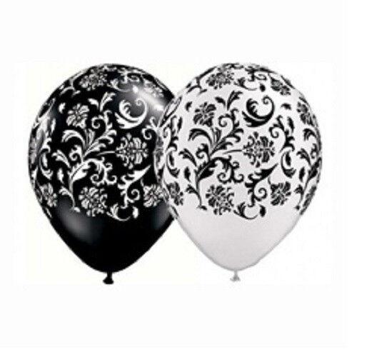 "24 Black White Balloons Damask Print Lace Wedding Latex 11"" Made USA Qualatex"