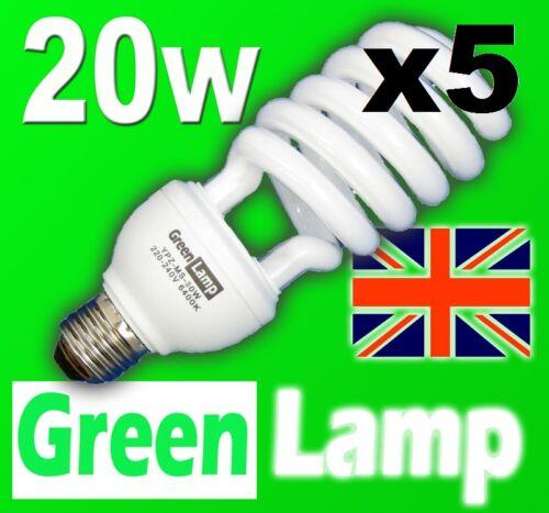5 x 20w = 100w 2700k Energy Saving CFL Warm bulb E27