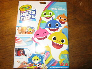 NEW~Crayola~Baby Shark~Color Wonder~Mess Free Coloring~5 ...