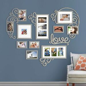4215e90fc9e Heart Love Photo Picture Frame Collage Set Silver Wall Art Decor ...