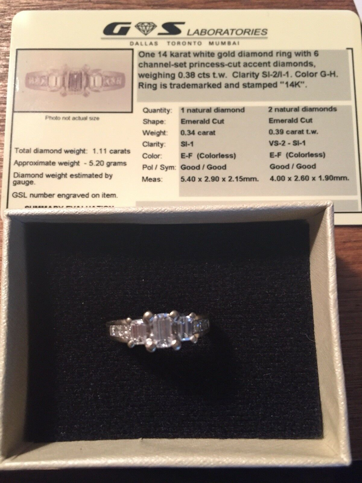 14k WG EMERALD CUT Diamond 1 1 5cttw Engagement Ring Sz 5.5 PRICE REDUCED