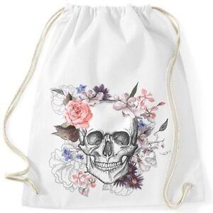 Turnbeutel-Totenkopf-Blumen-Flower-Skull-Boho-Schaedel-Gymsac-Baumwolle-Autiga