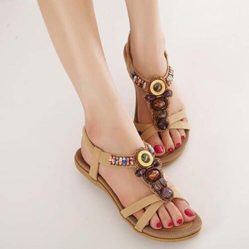 Clip de playa para mujer de moda con cuentas Toe Flats Bohemio Herringbone Sandalias Caminar