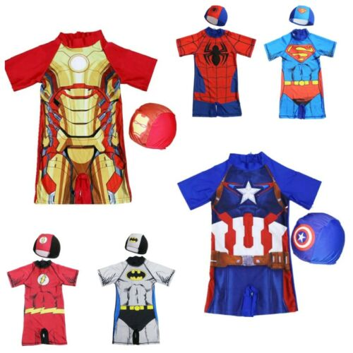Kid Boys Swimwear Superheroes Swimming Costume Swimsuit 4-10Y with Cap One Piece