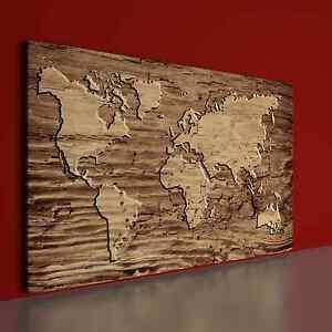 Das Bild Wird Geladen Weltkarte In Holz Eingebrannt Leinwand  Keilrahmen Bild Loft