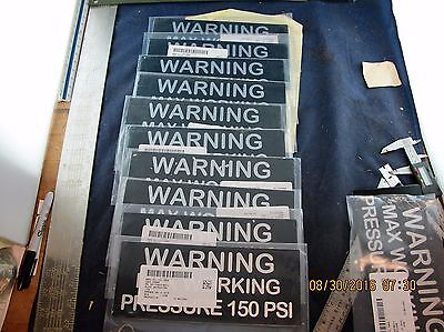 "(10) ""warning Max Pressure 150 Psi"" Metal Warning Labels Peel & Stick (9.5"" X 4"" Exquisite Traditional Embroidery Art"