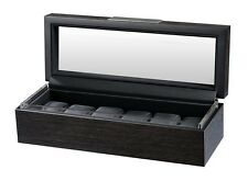 Volta Matte Charcoal Wood Finish 6 Watch Box Storage Chest Case w/ Glass Top