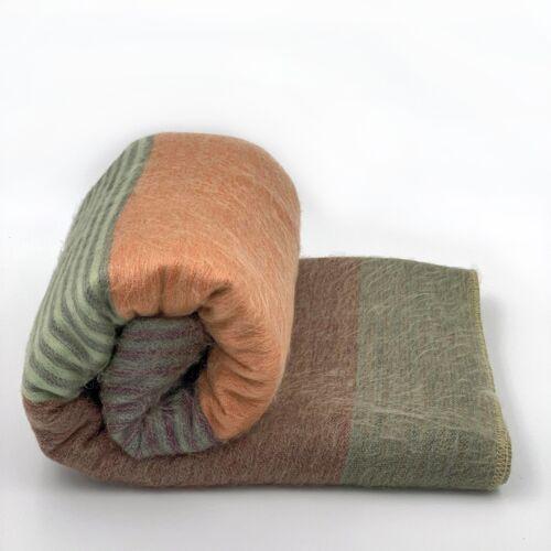 """SOFT /& WARM STRIPED ALPACA LLAMA WOOL BLANKET PLAID 90/""""x70/"""" QUEEN BED SOFA COUCH"""
