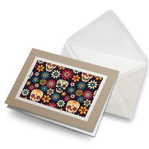 Greetings-Card-Biege-Flowery-Sugar-Skull-Floral-Mexican-8780