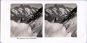 Stéréo, Suisse, Jungfraubahn, Eismeer und Schreckhorn Vintage stereo card  Tir