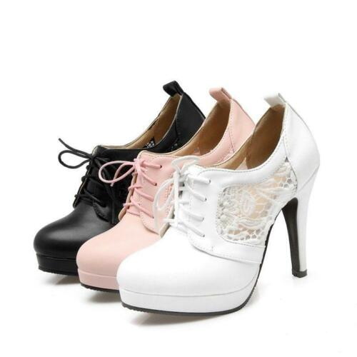 Spring Womens Platform Mary Jane High Stiletto Heel Mesh Lace Up Pumps New Shoes