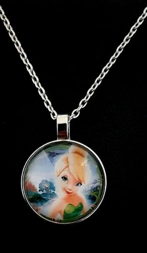 Tinker Bell Fairy Round Glass Cabochon Kids Necklace Silver Tone Pendant Chain