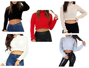 e10db03dc5bd7c Image is loading Ladies-Womens-Cropped-Knitted-Jumper-Ruffle-Frill-Fashion-