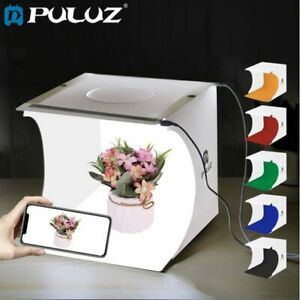 Confident Puluz 20*20cm 8 Mini Folding Studio Diffuse Soft Box Lightbox With Led Light Black White Photography Background Photo Studio Box Camera & Photo Photo Studio Accessories