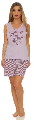 Kurzer Damen Shorty Schortie Pyjama Schlafanzug sommerlich 100 Baumwolle billig