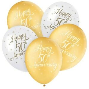 5-x-Happy-50th-Anniversary-Helium-12-034-Latex-Balloons-Golden-Party-Decoration