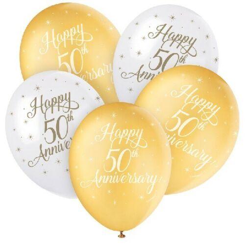 """5 X 12/"""" feliz 50th Aniversario Helio Globos de Látex Decoración Fiesta De Oro"""