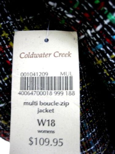Plaid Jacket 18w Coldwater 109 Nwt Trim Creek Nuovo 1x Zipper Multi Tweed Texture daqx1nA