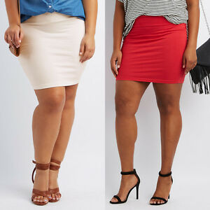 Plus Size Women's Sexy Mini Skirt Slim Stretch Tight Short Fitted ...