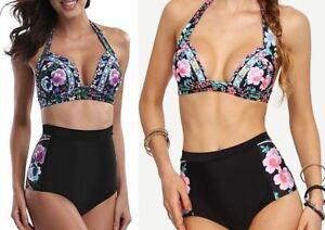 enorme sconto 6ea73 216de Dettagli su Le Donne Taglie Forti Floreale Vita Alta Bikini Set Costumi da  bagno imbottito Costume da bagno Beachwear- mostra il titolo originale