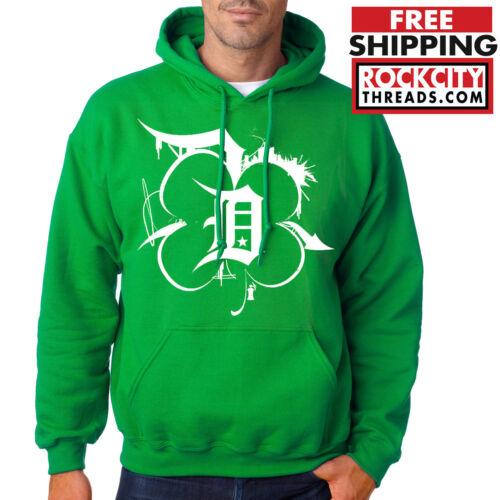 DETROIT IRISH SHAMROCK HOODIE St Patricks Day Sweatshirt Made In Lucky Green USA