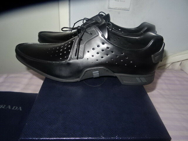 5af059be746 ... Prada Men s Black Spazzolato Perforated Lace-Up Sneakers SZ SZ SZ UK 7  EU41 f1f241 ...