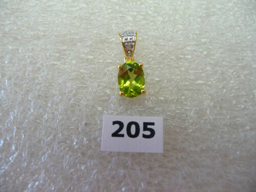 #205# Genuine .925 Sterling Silver 18K Gold Plated Oval Peridot Gem Pendant