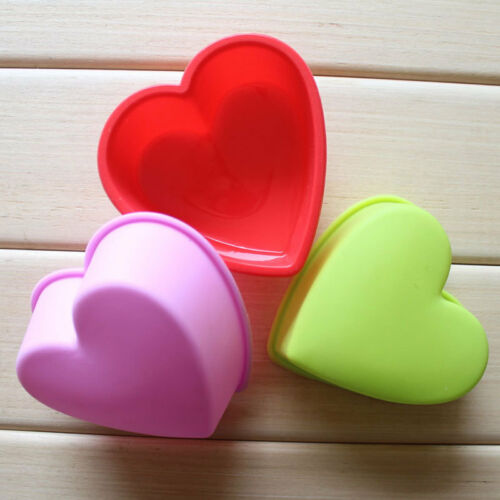 5pcs Silicone Heart Cake Cupcake Chocolate Candy Cookie Jelly Baking Mold Soap
