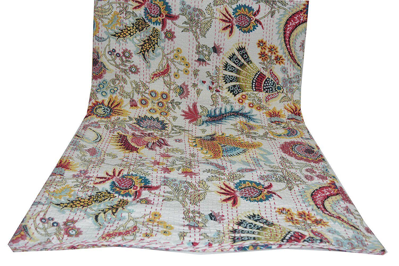 White Multicolor Mukut Print King Size Kantha Quilt, Kantha Blanket,Bed Cover