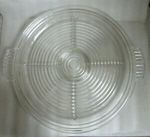 "Anchor Hocking MANHATTAN Pattern Depression Crystal GLASS Relish TRAY 15.75""!"