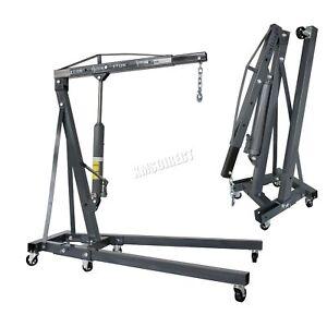 SwitZer-Grey-2-Ton-Hydraulic-Folding-Engine-Crane-Stand-Hoist-lift-Jack-Wheel