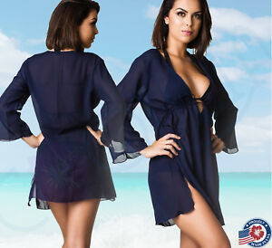 401ee70e1c Image is loading COQUETA-Cover-up-Dress-Navy-Blue-Chiffon-Sheer-