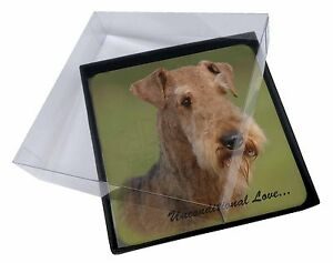 4x Airedale Terrier with Love Picture Table Coasters Set in Gift Box, AD-AD1uC