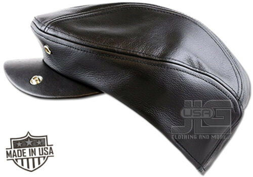 Premium Men/'s Gatsby//Ivy Hat Made in USA 100/% Genuine Leather Black Brown NEW