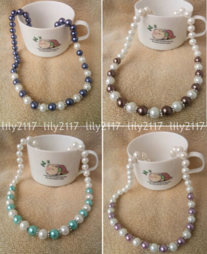 Fashion Natural 8mm MultiColor South Sea Shell Pearl beads Jewelry necklace 18/'/'