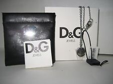 "$150 NEW DOLCE&GABBANA Women Necklace Lovers D&G Logo Pendant Silvertone 23"" BOX"