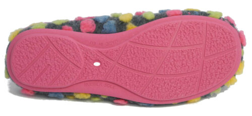 Womens Ladies Fur Knitted Polka Dot Mules Slippers Sleepers Pink Blue Size 3-9
