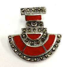 LOVELY DECO INSPIRED RED CORAL AND MARCASITE PENDANT 925 STERLING SILVER