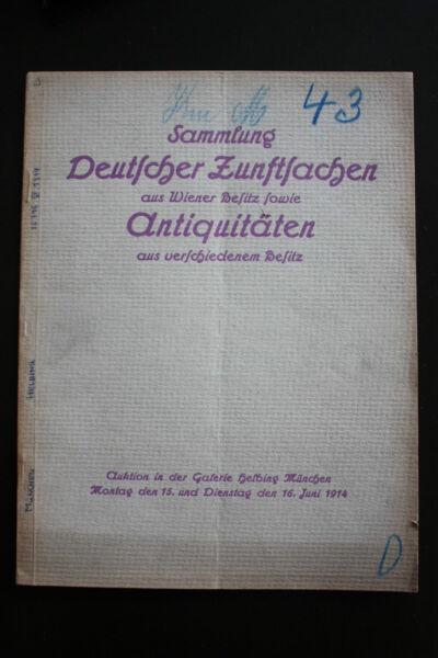 Deutsche Zunftsachen (auktionskatalog, 1914)!!! Reich An Poetischer Und Bildlicher Pracht